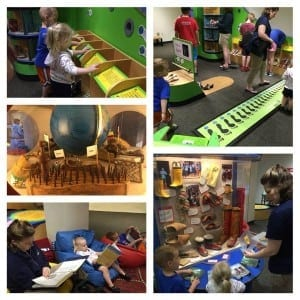 """A family explores """"Global Shoes"""" during Shuttleworth & Ingersoll's """"member day"""" at the museum"""