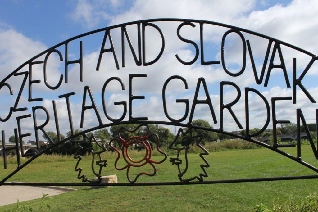 Czech and Slovak Heritage Garden sign. Created by Dave Leeper at MetalWorks in Cedar Rapids.
