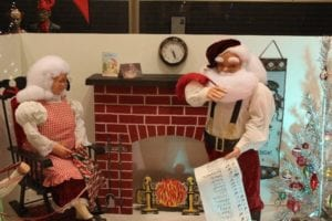 Small statues of Mr. and Mrs. Claus