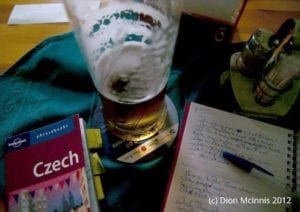 Czech phrasebook with a glass of beer