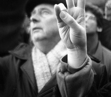 Hand showing a peace sign
