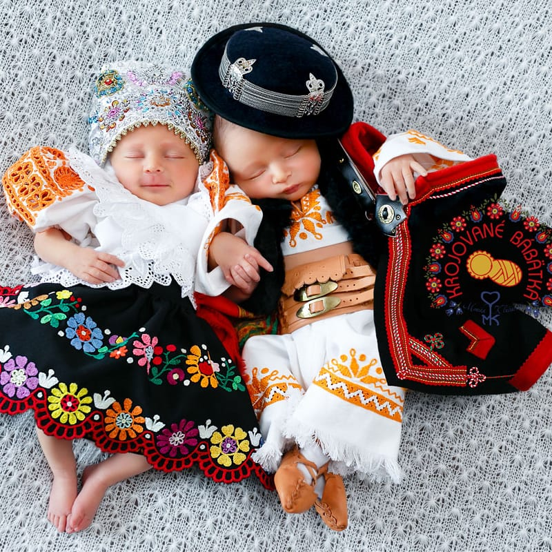 Babies in Slovak Dress