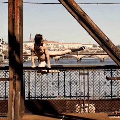Dance performance on bridge